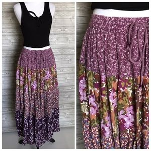 4 for $25 vintage purple floral boho maxi skirt